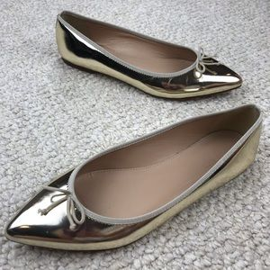 J. CREW Metallic Gold Pointed-Toe Ballet Flats